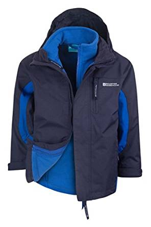 Mountain Warehouse Cannonball 3In1 Kinder Wasserdichte Jacke Doppeljacke Abnehmbarer Kapuze Fleece